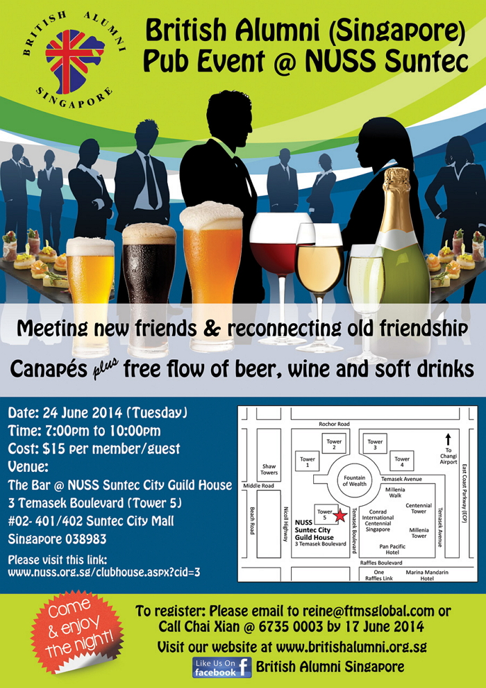 British Alumni Pub Event @ NUSS Suntec (24 June)