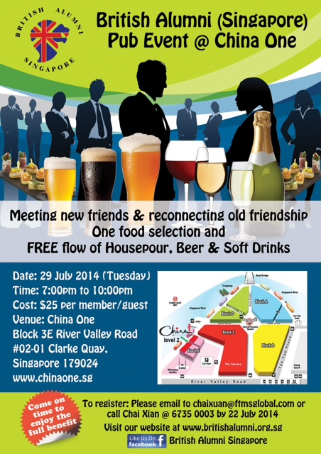 British Alumni Pub Event @ China One (29 July)
